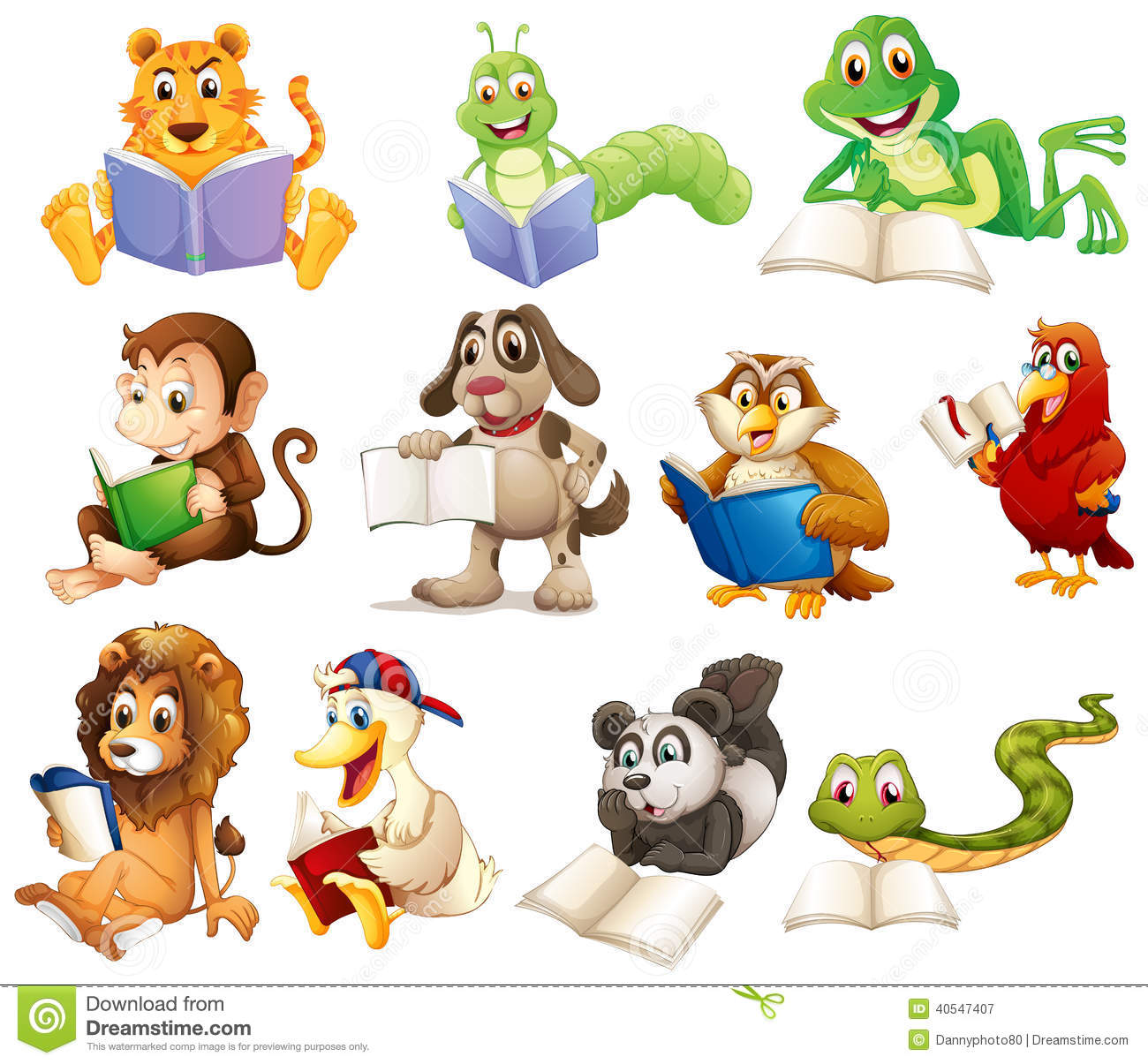 A group of animals reading stock vector. Illustration of ...