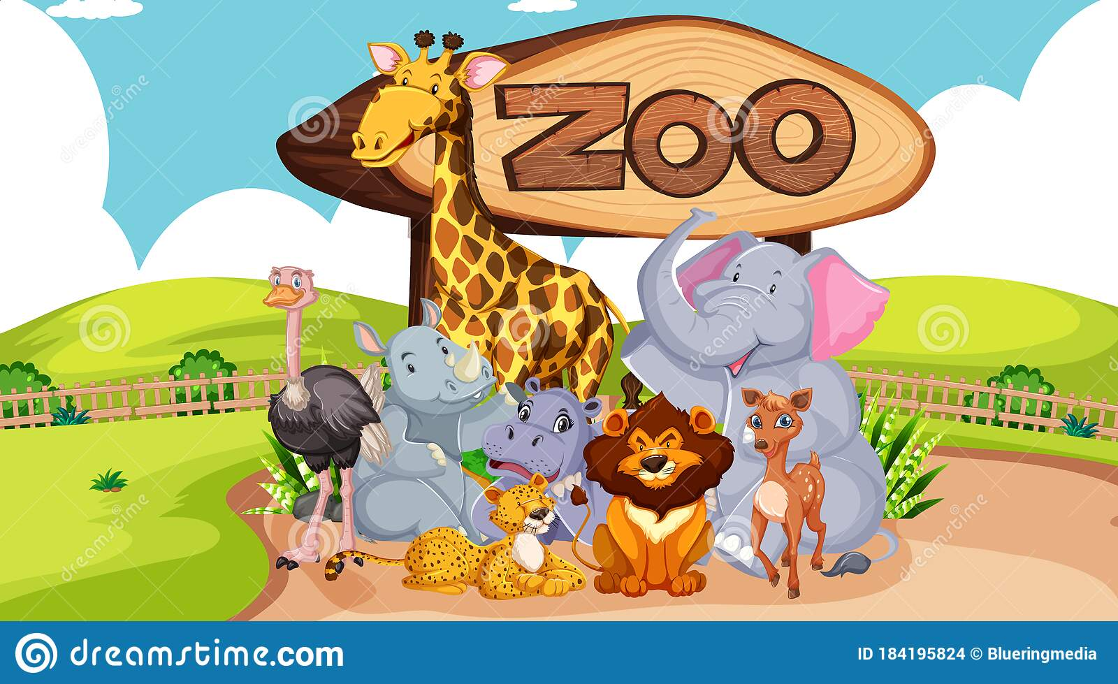 Group Of Animals With Zoo Sign Stock Vector - Illustration of elephant,  cartoon: 184195824