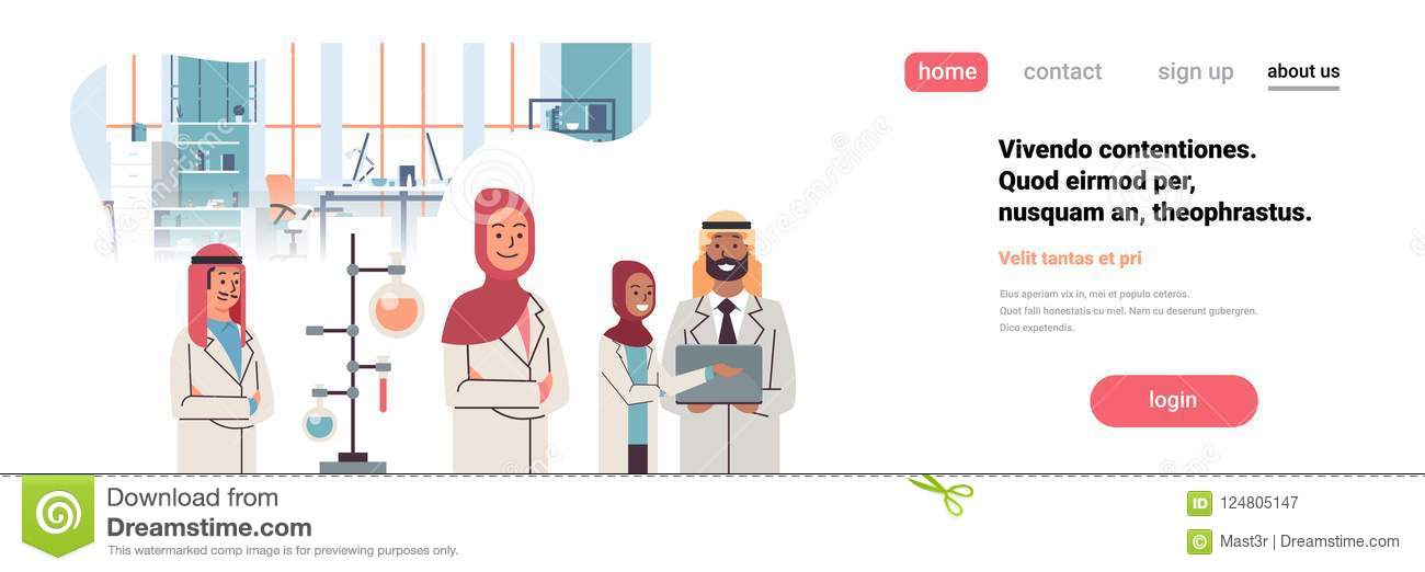 Group arabic scientists working laboratory doing research test tube dropper arabian team study chemicals experiments
