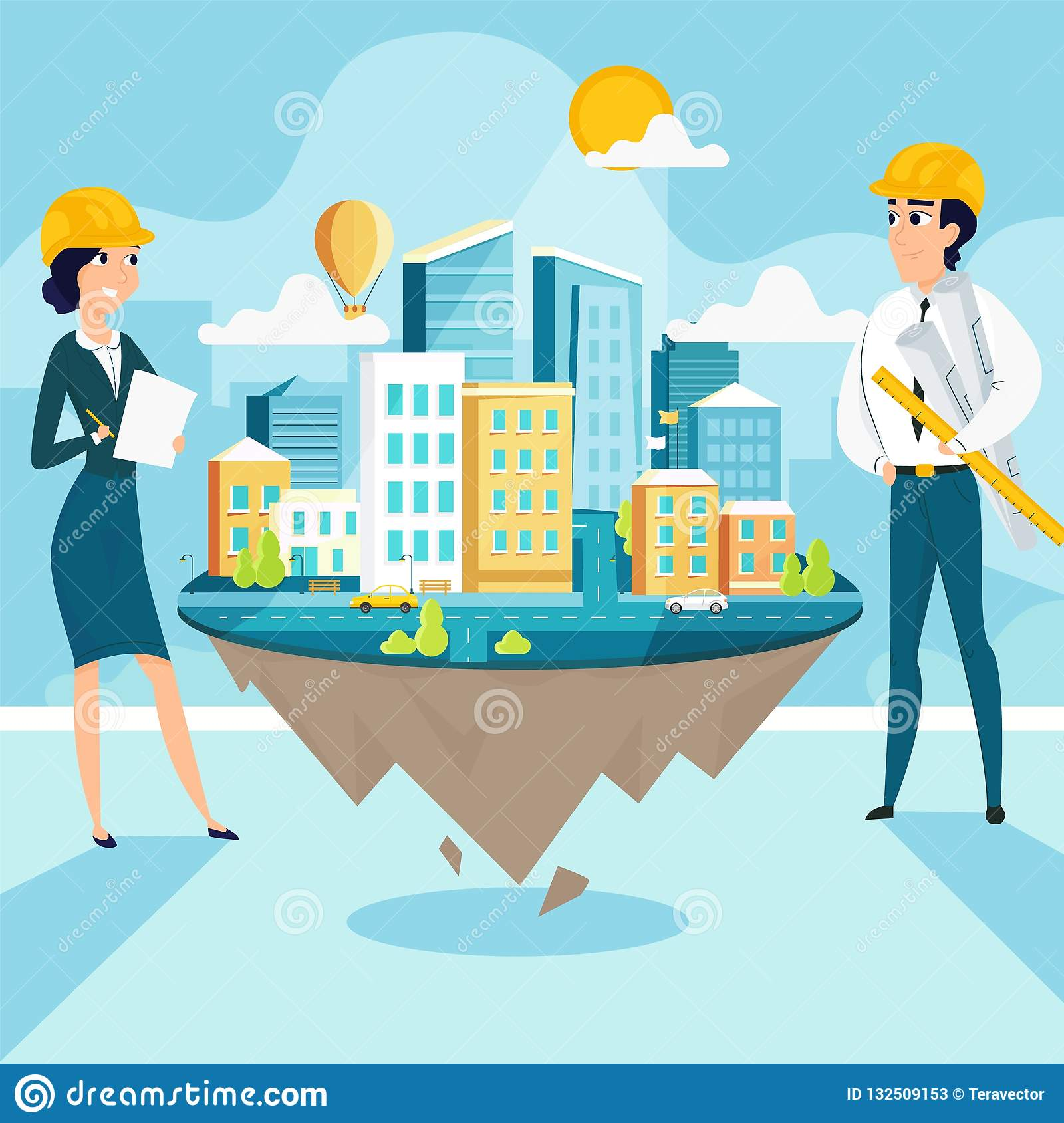 Group Of Architects With City Architecture Layout Stock Vector
