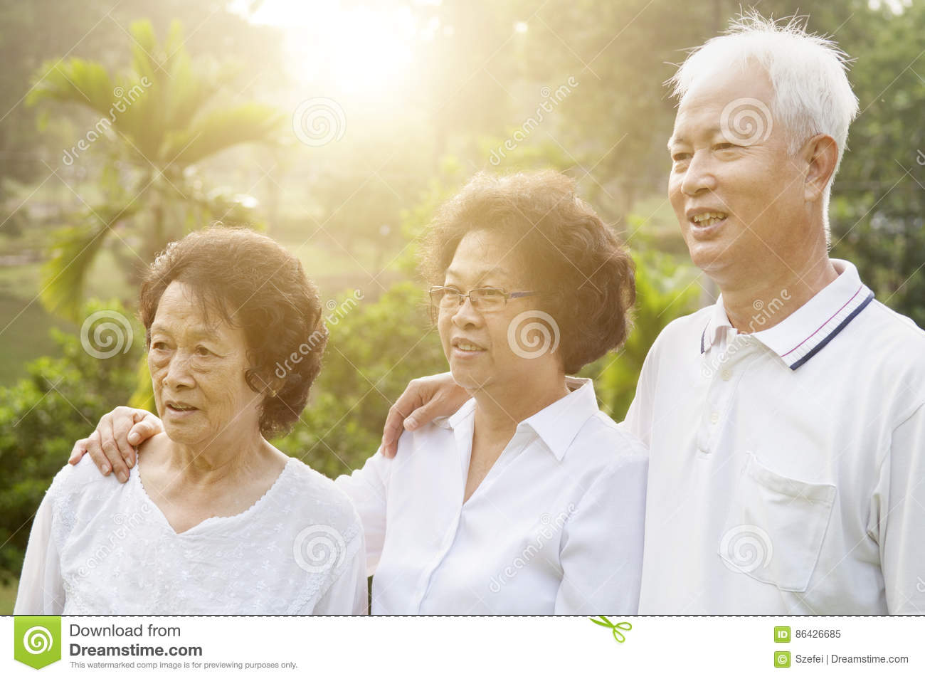 Group of Asian seniors people
