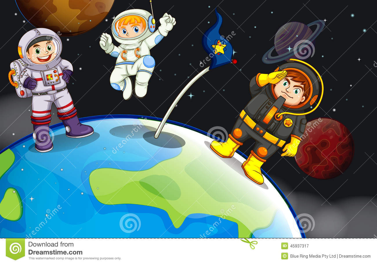 A group of astronauts in the outerspace stock vector for Outerspace design group