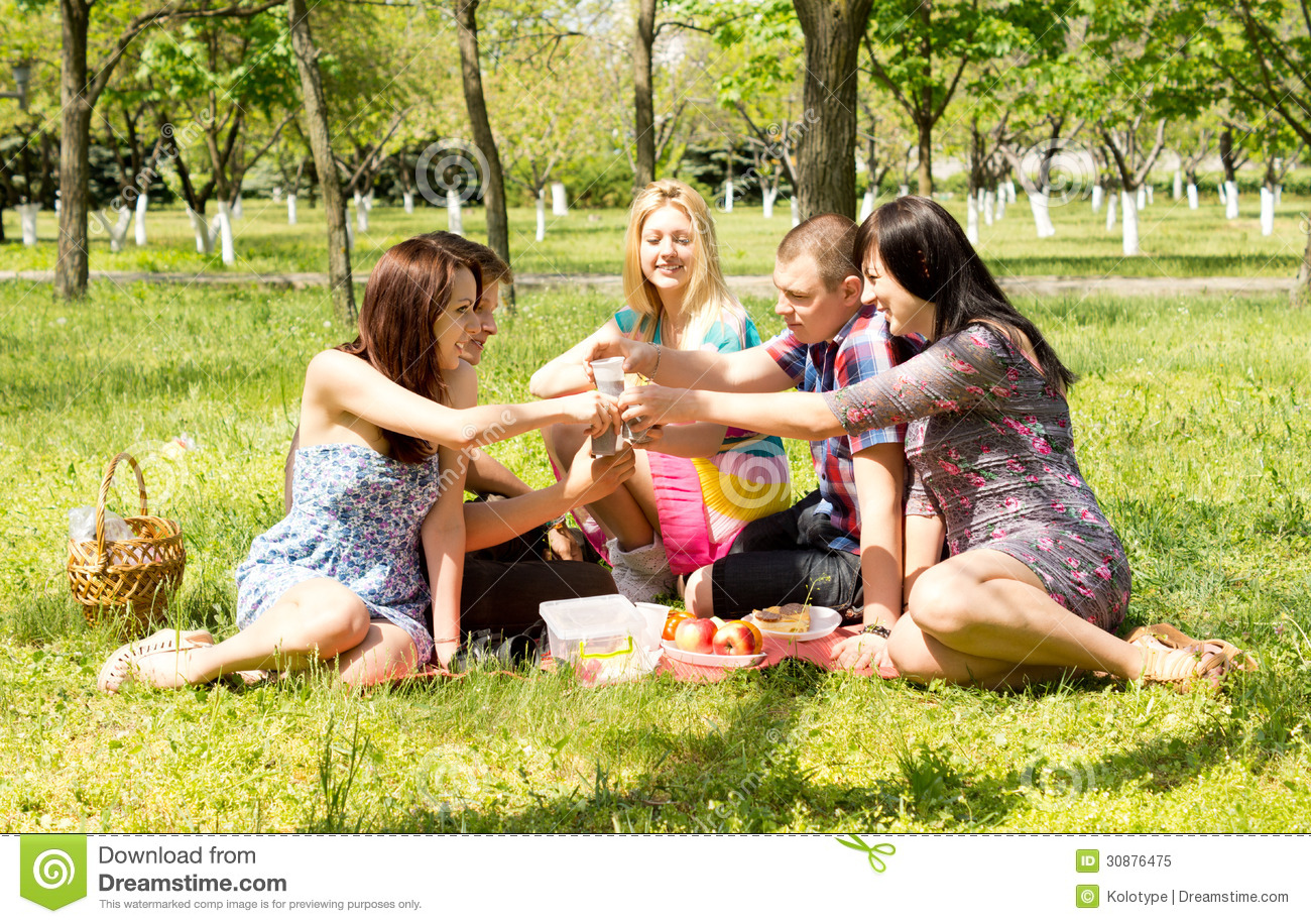 A Group Of Attractive Young Friends On Picnic Royalty Free