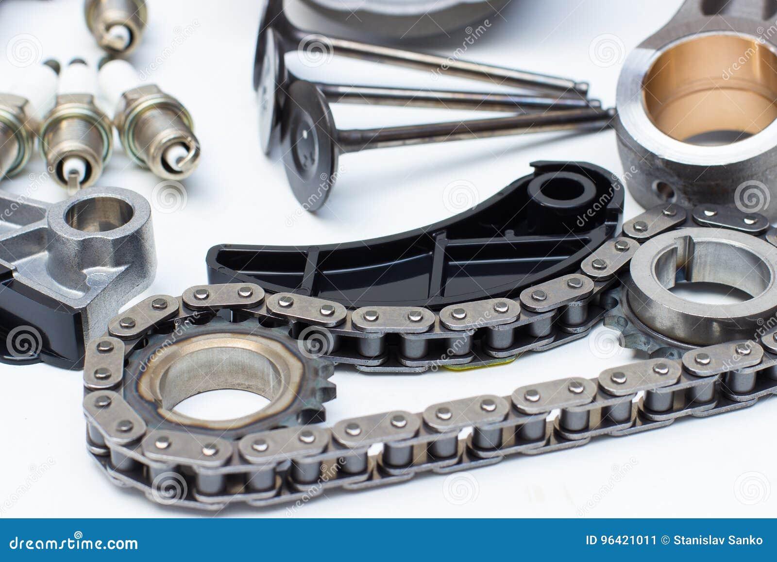 Group Automobile Engine Parts Isolated On White Stock Image - Image ...