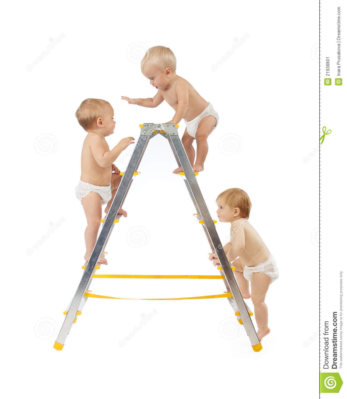 Group of babies climbing on stepladder over white