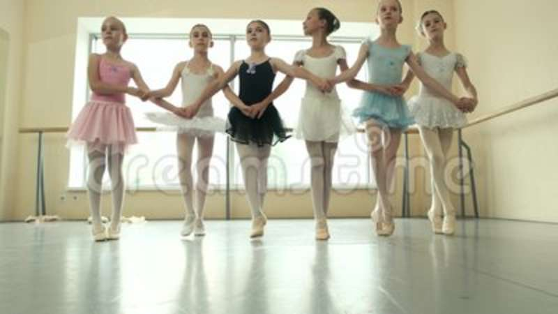 59af816ad8d4 Group Of Ballerinas Rehearsing Before Performance. Stock Footage ...