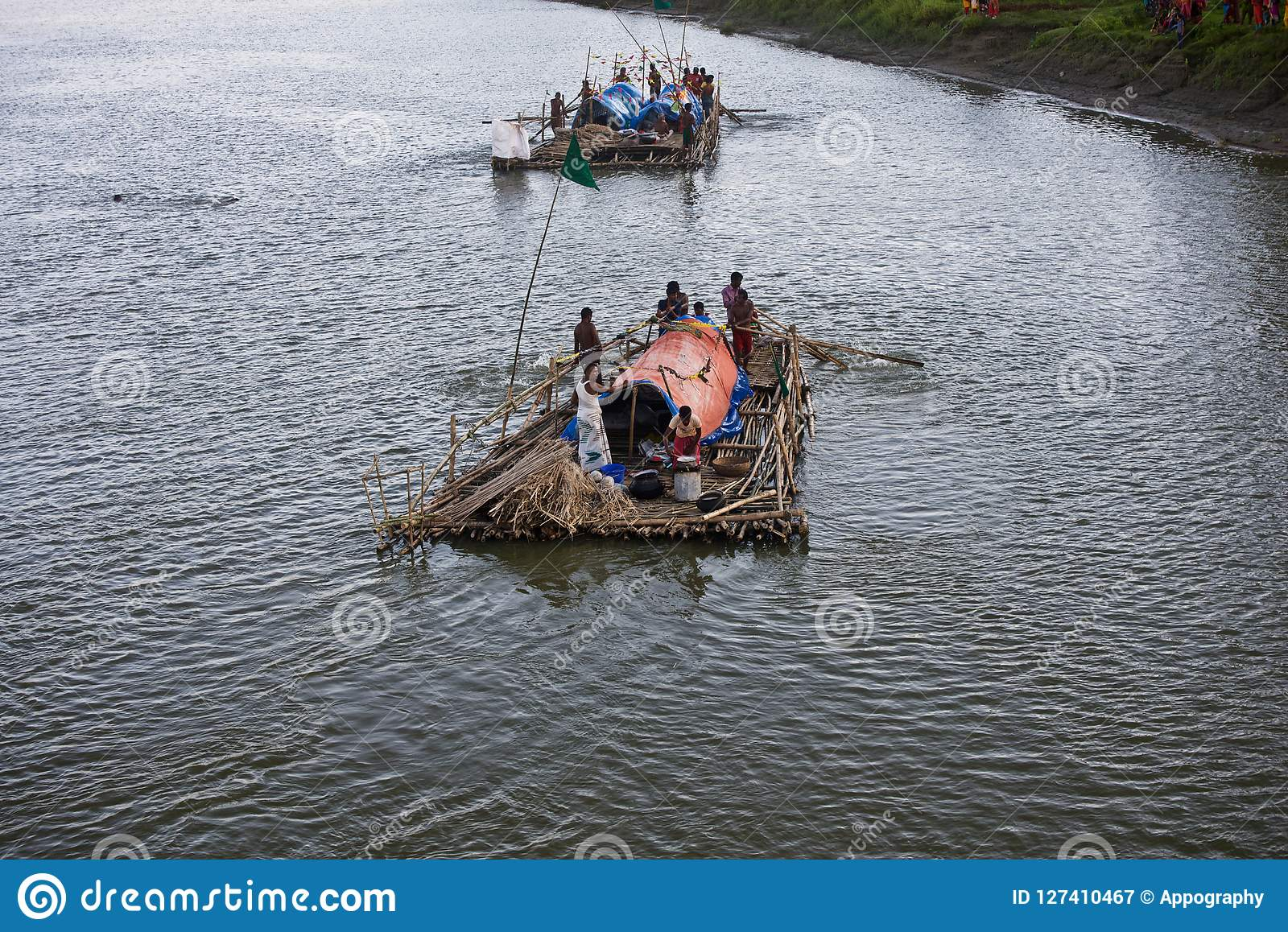 People travelling on the boat in the river unique editorial image