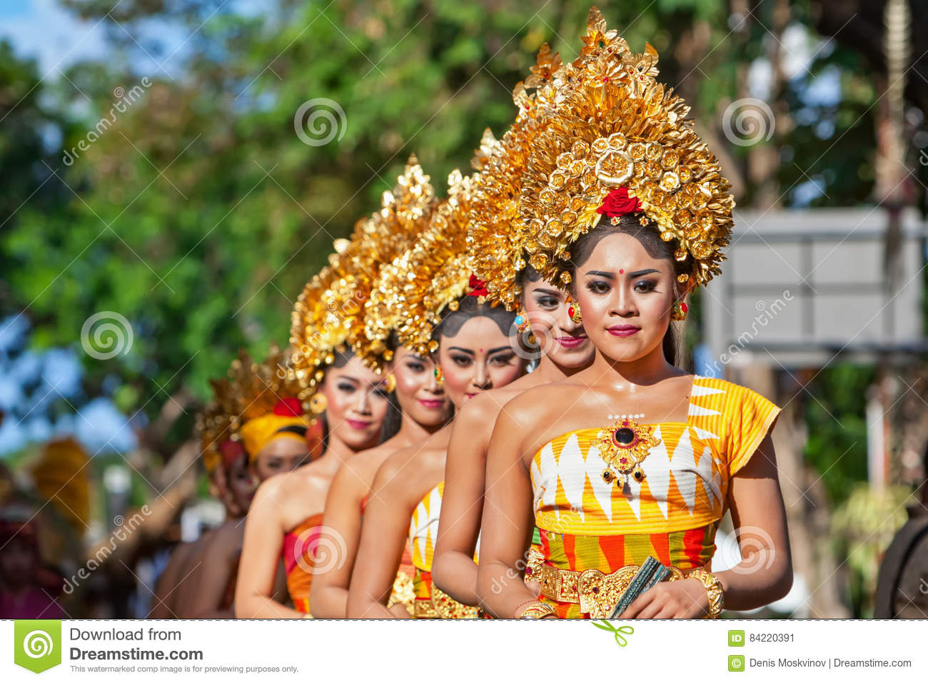 Group Of Beautiful Balinese Women Dancers In Traditional