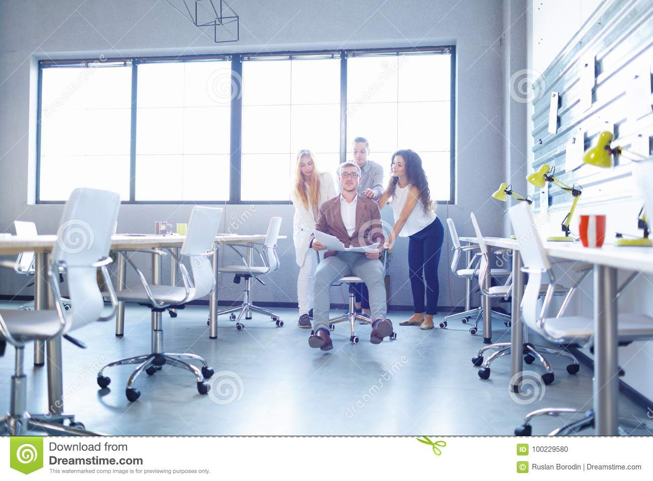 Smiling Business Staff On The Office Background Team Success Concept Copy Space Stock Photo Image Of Modern Manager 100229580
