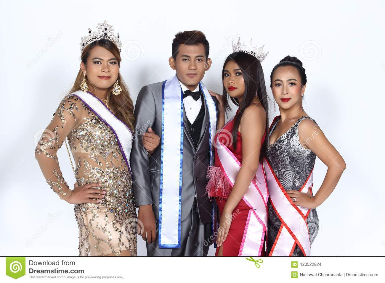 0a49c5ab92 Group of four Beauty Pageant in formal dress, evening gown, wedding  business suit with sash crown. Happy together with smiling half body many  people, ...