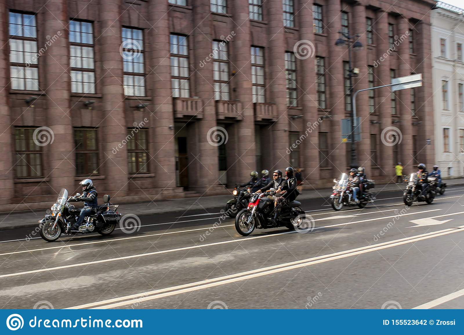 Group of bikers in motion