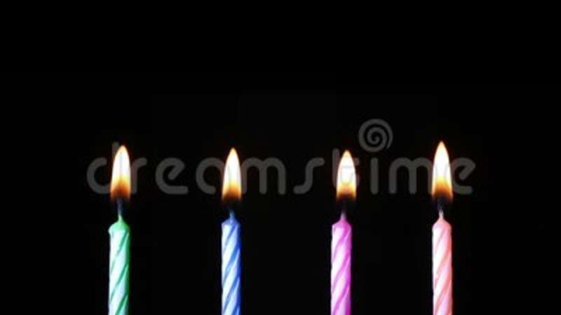 Group Birthday Candles Light On Isolated Black Stock Footage