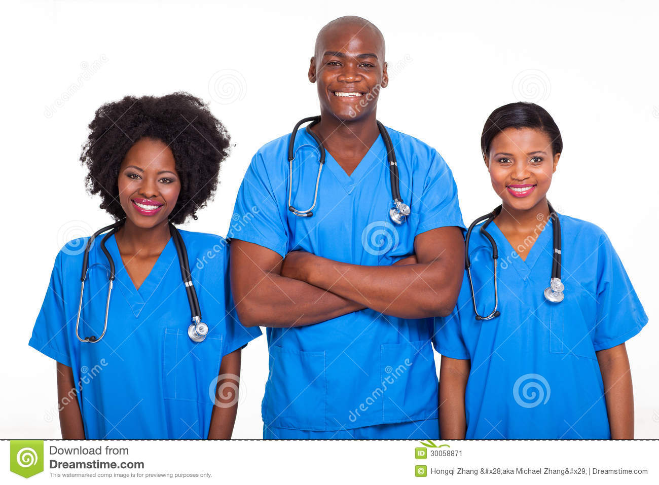 Group of black doctors and nurses isolated on white.