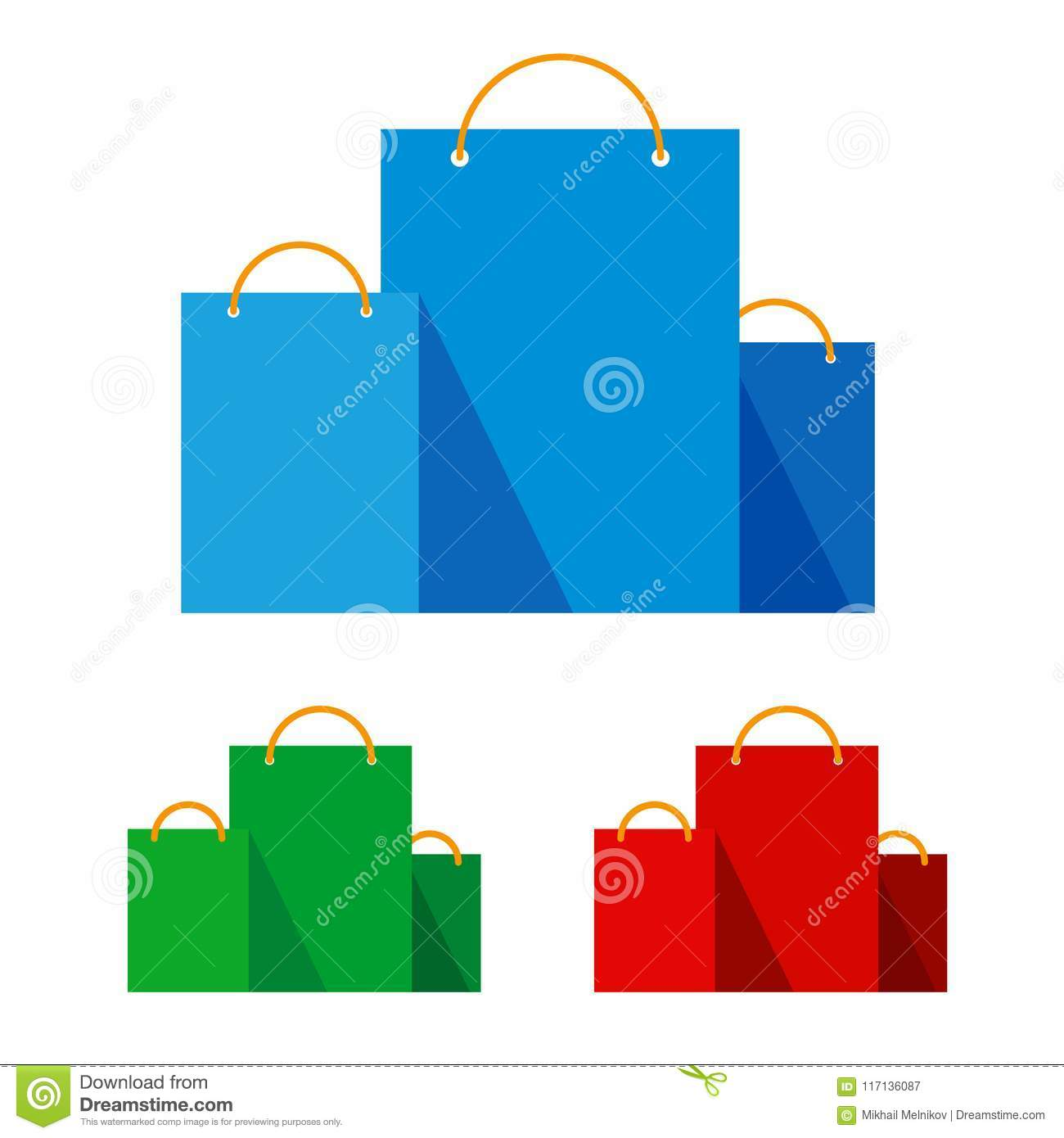 f1bba2fd Group of bright flat shopping bags. Red, green and blue paper pockets  icons. Signs for online shop or store. Isolated on white background, with  place for ...
