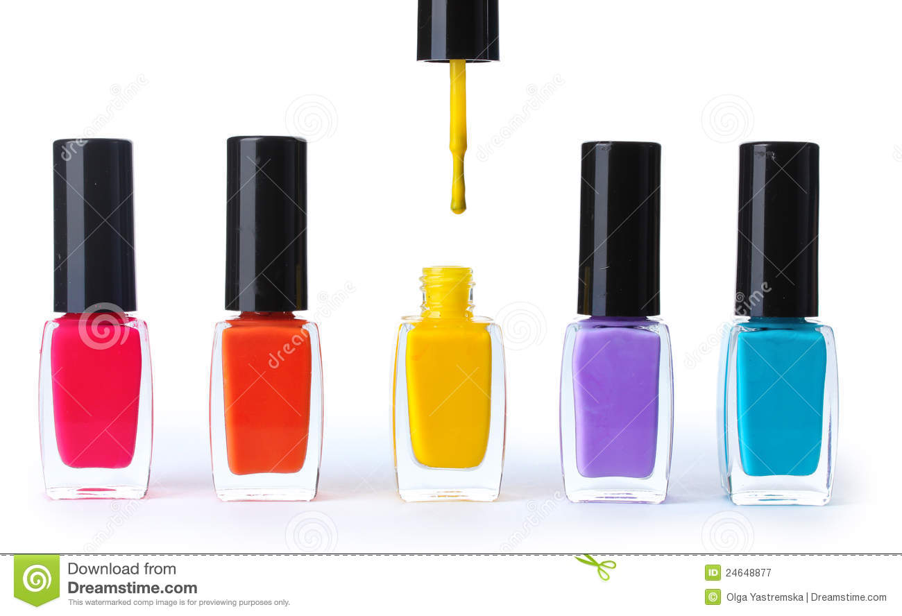 Group of bright nail polishes royalty free stock for How to renew old nail polish