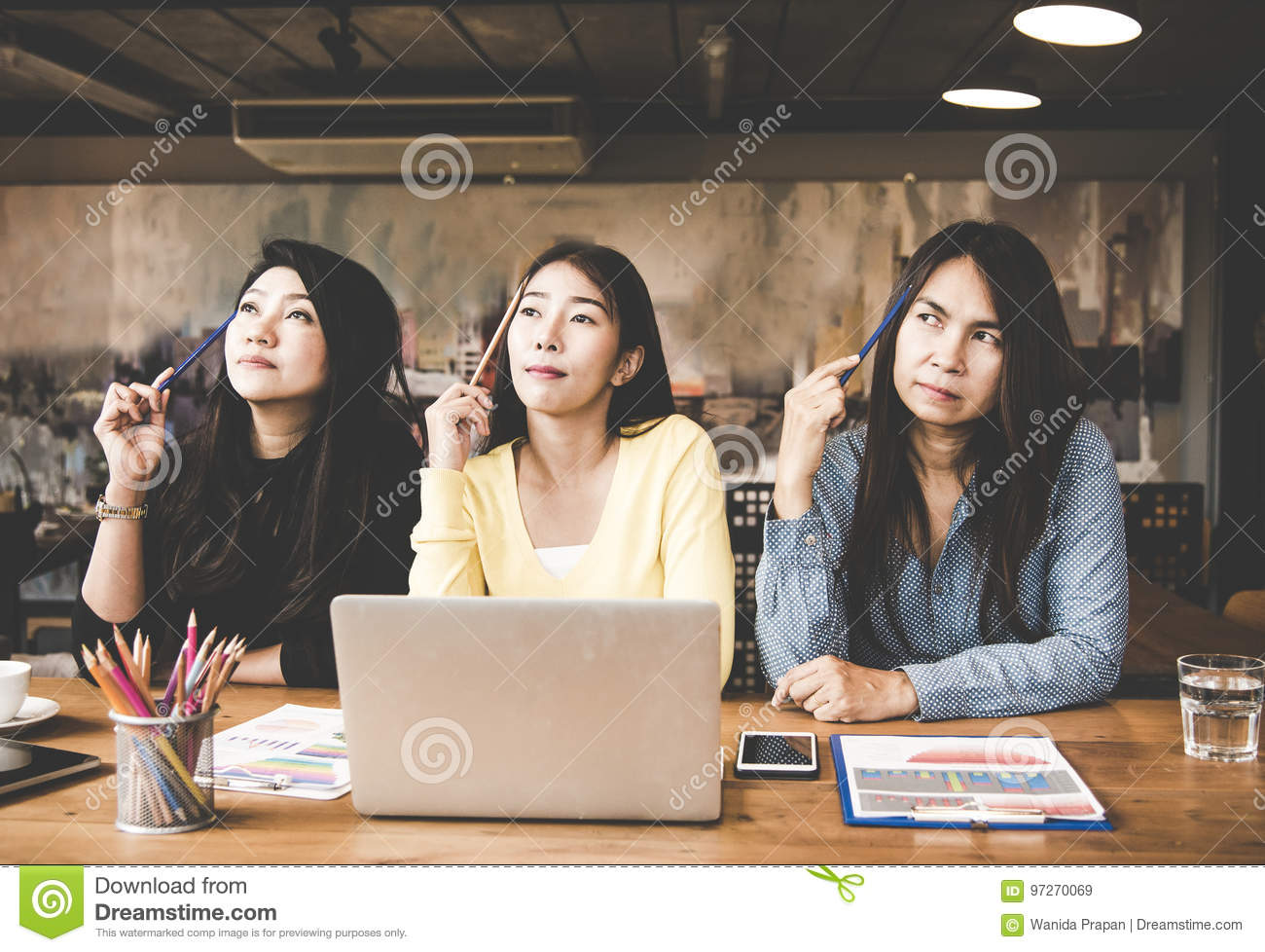 Group Business Asia Woman Looking And Thinking Something Ideas In Workspace Casual Outfit