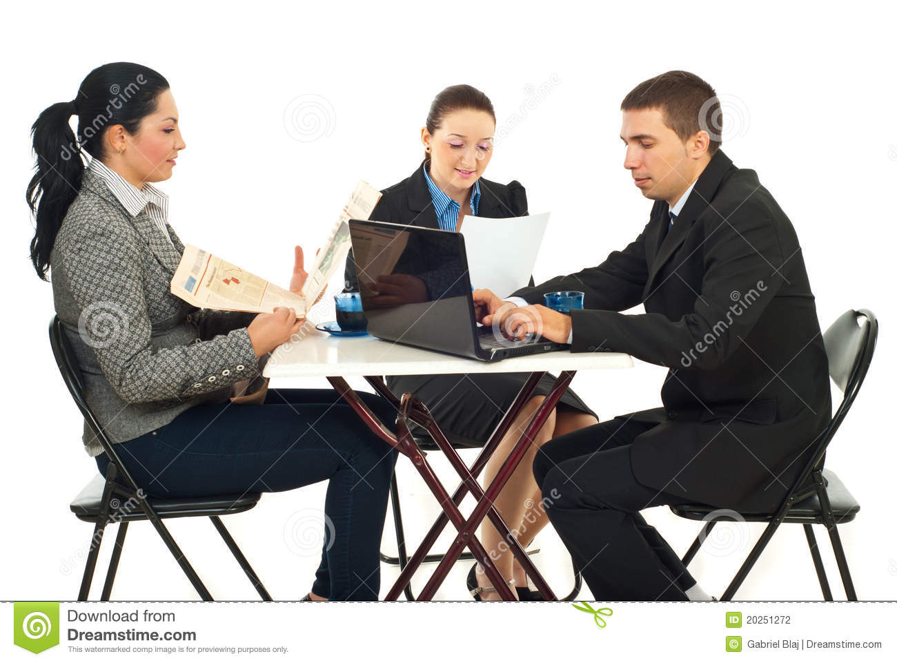Group Of Business People In A Cafe Shop Stock Photography