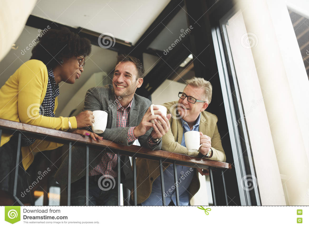 Group business people chatting balcony concept stock image for Balcony concept
