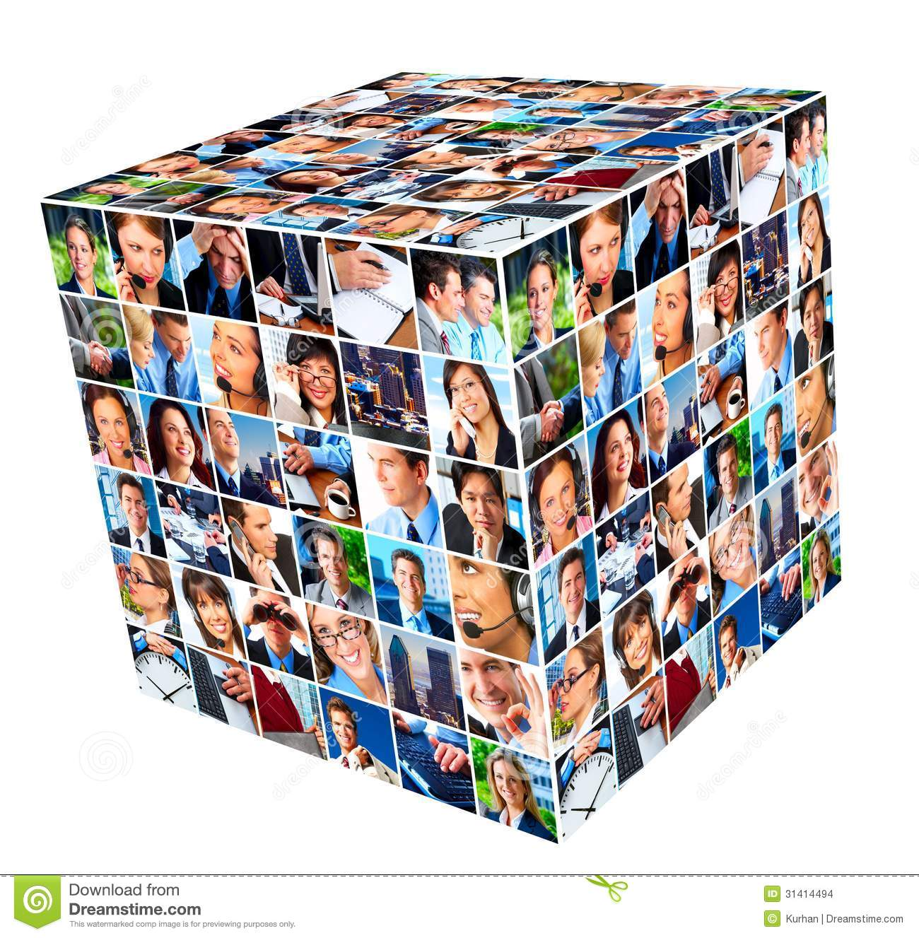 Group of business people cube collage background
