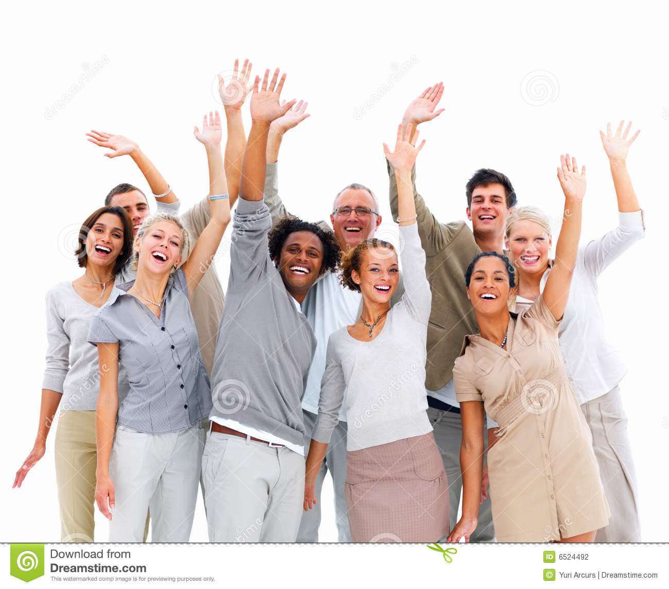 Group Business People With Hands Up In Air Stock Photo