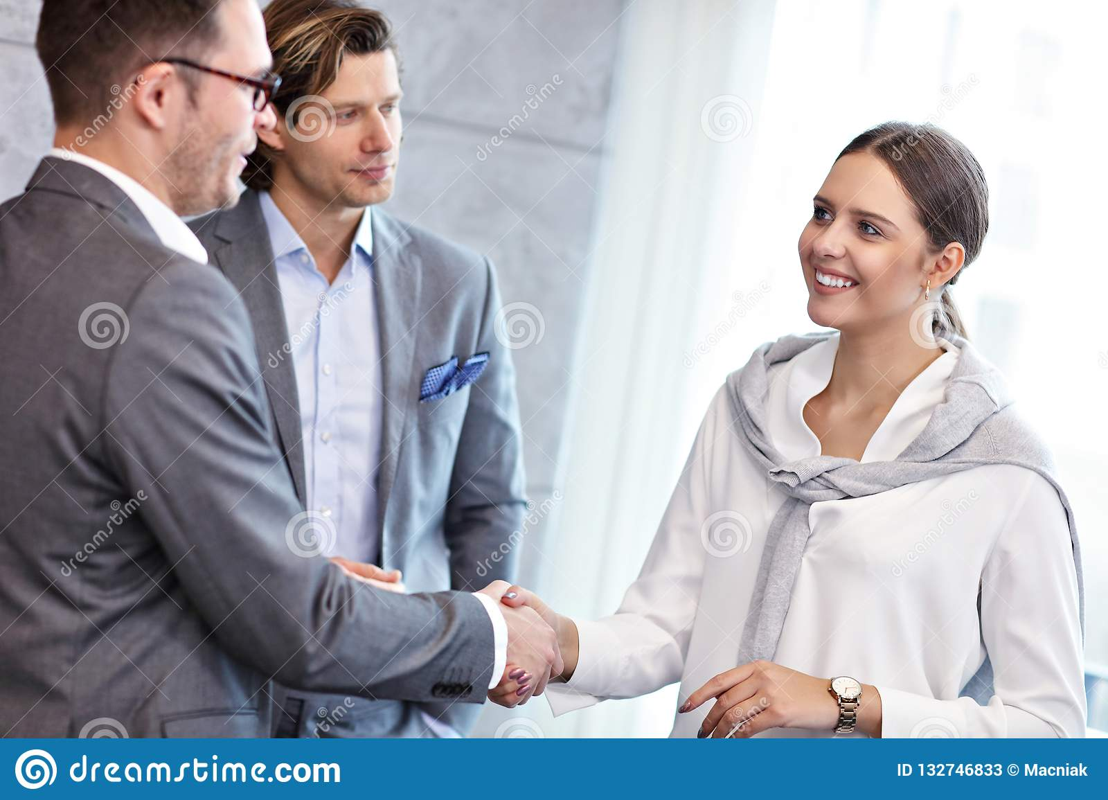Group of business people introducing one another