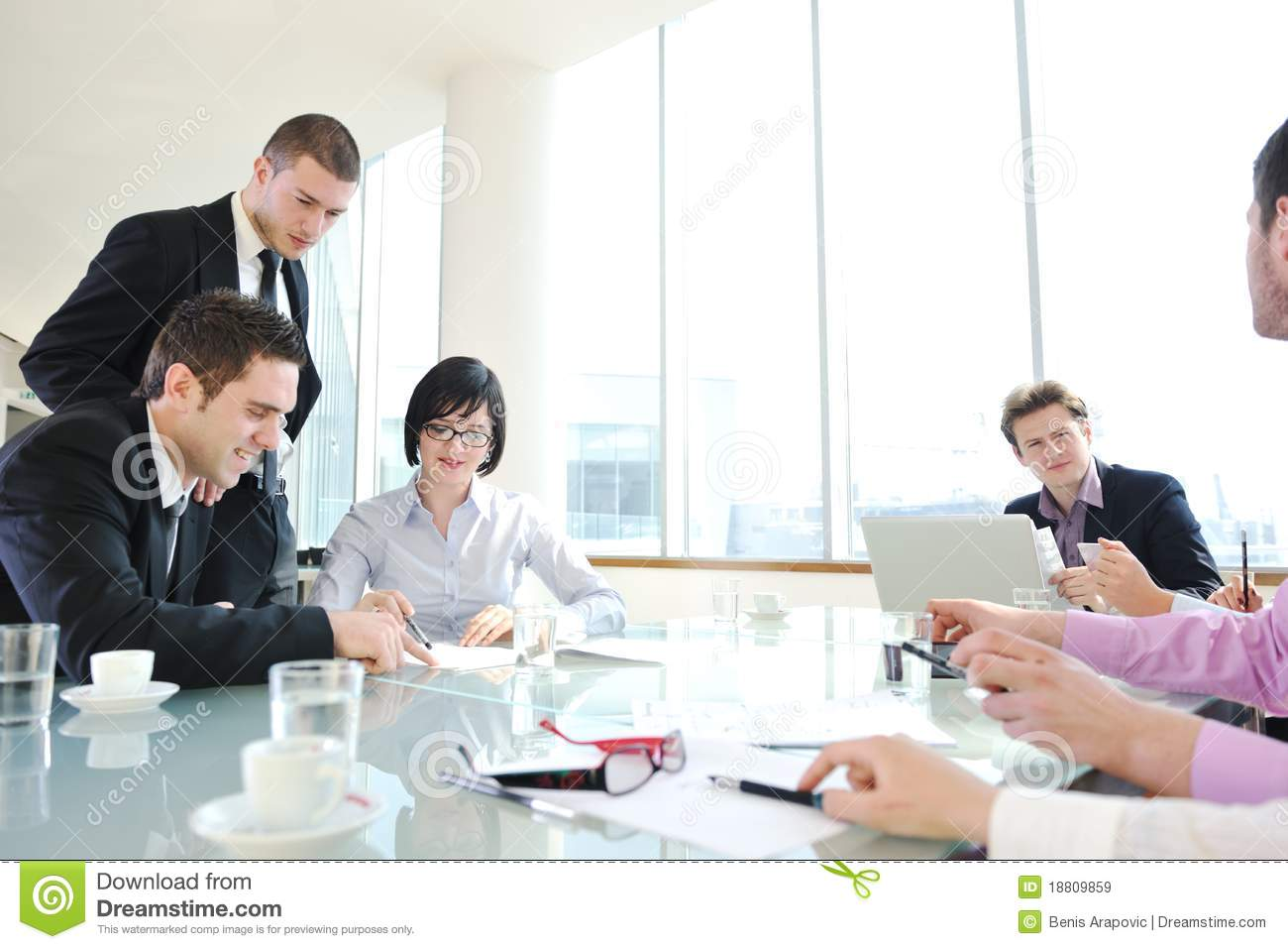 Group Of Business People At Meeting Royalty Free Stock ...