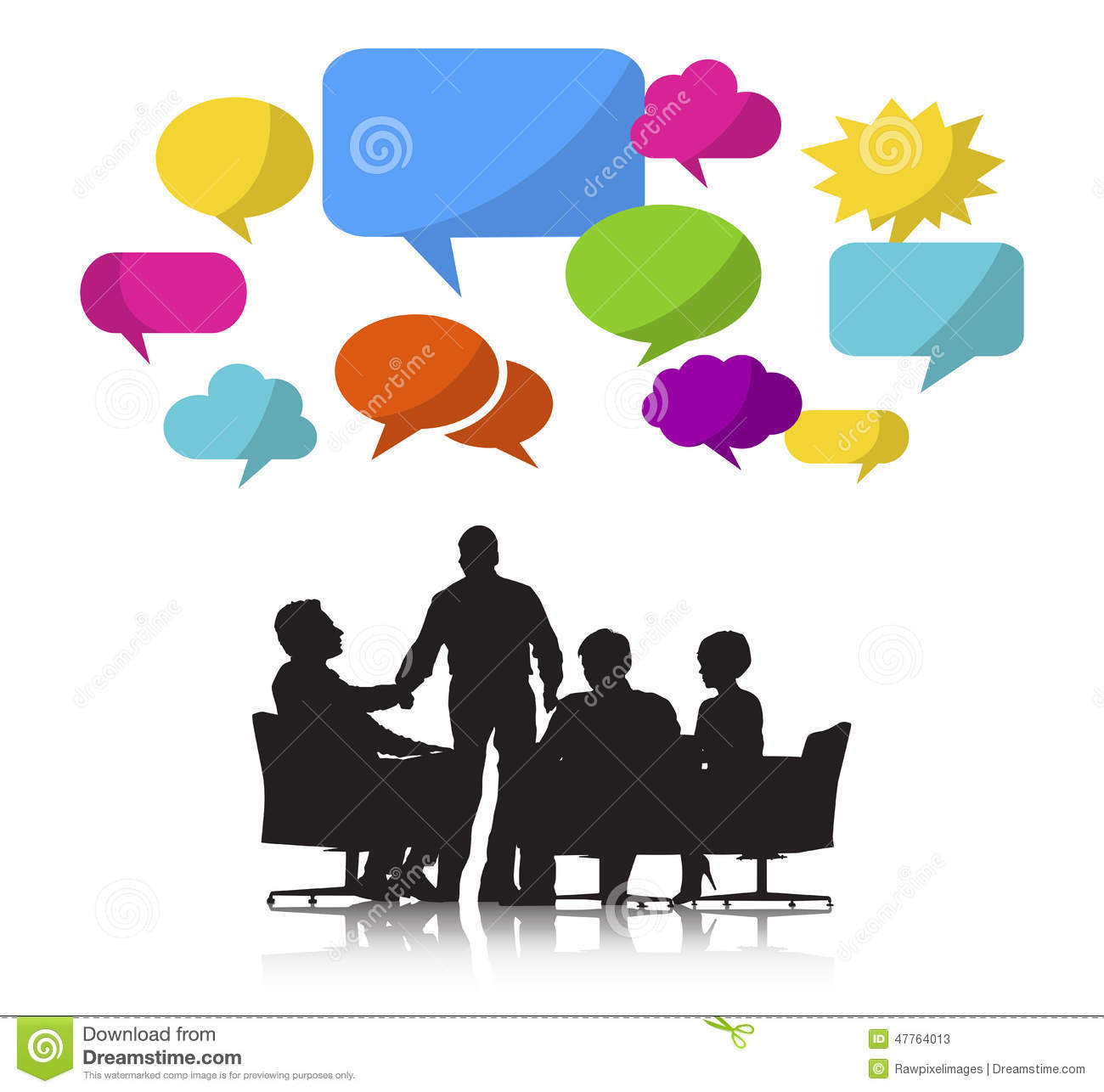 Group Business People Meeting Speech Bubble Stock
