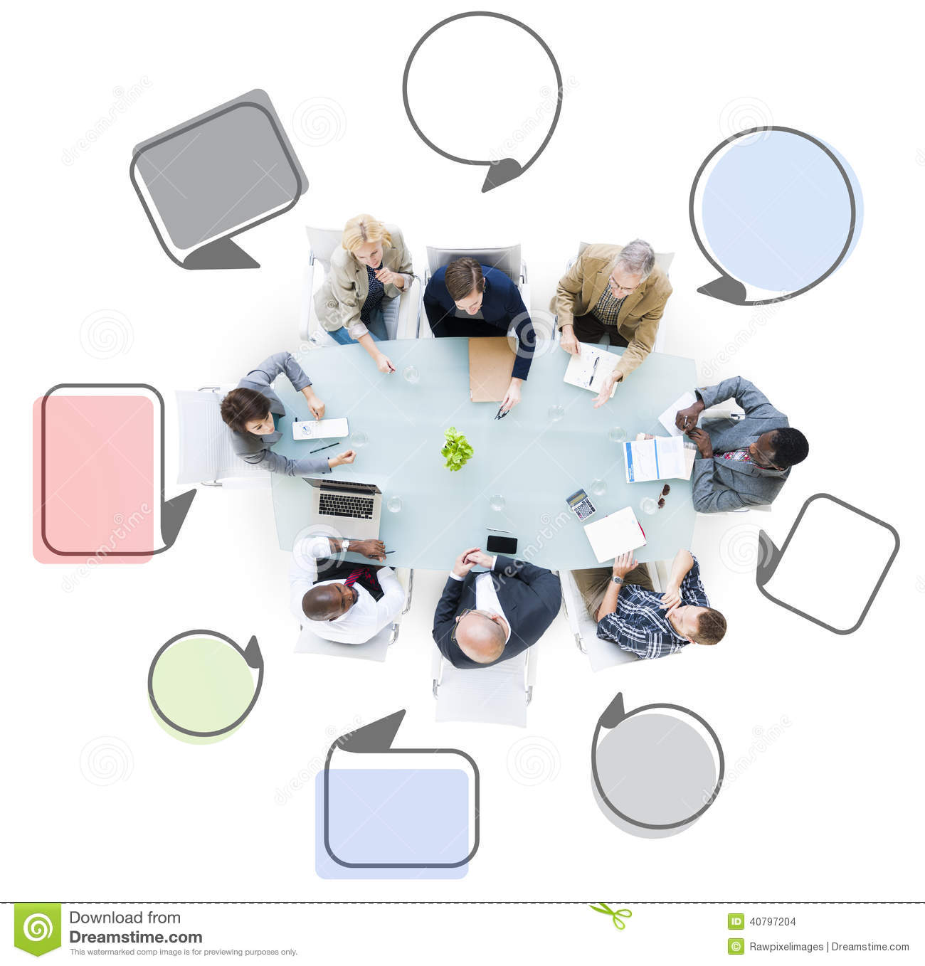 Group Of Business People Meeting With Speech Bubbles Stock