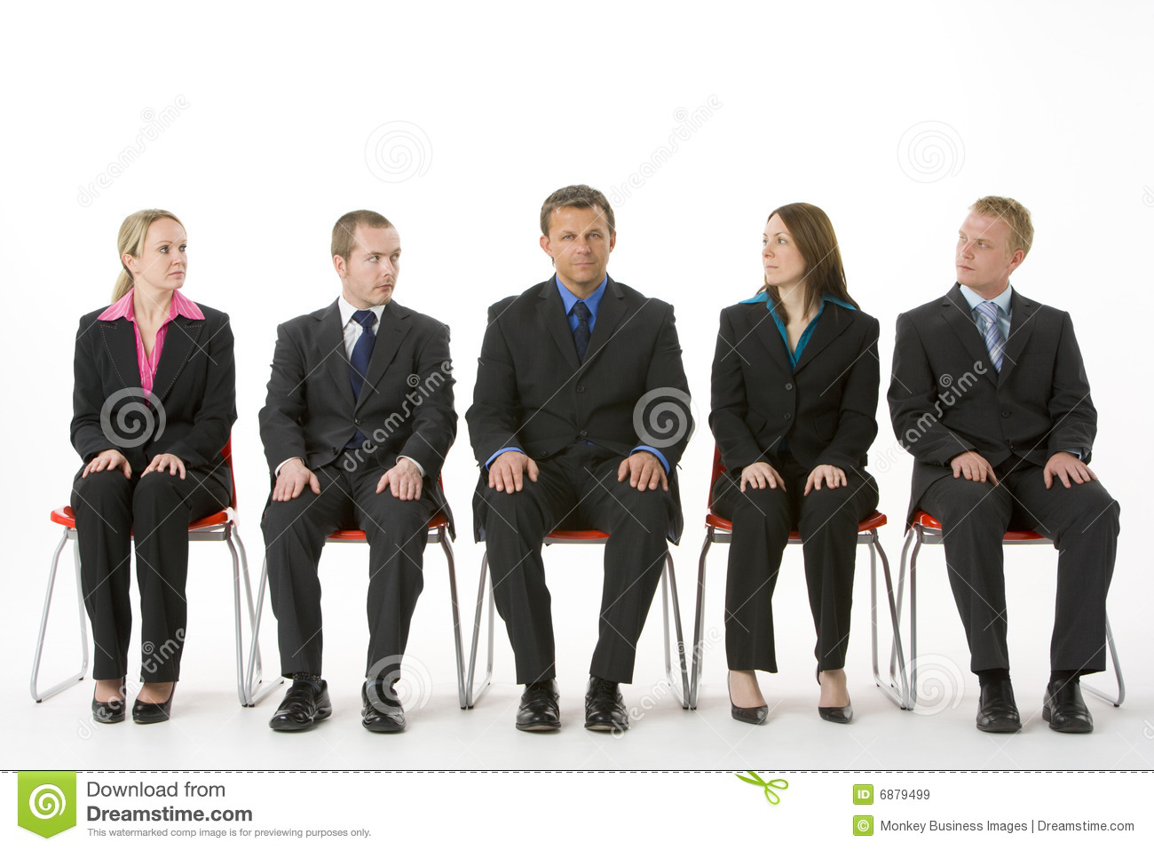 Group Of Business People Sitting In A Line Royalty Free Stock Images. People Waiting Job Interview Stock Photos  Images    Pictures