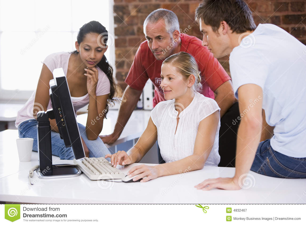 Group Of Business People Working Around Computer Royalty ...