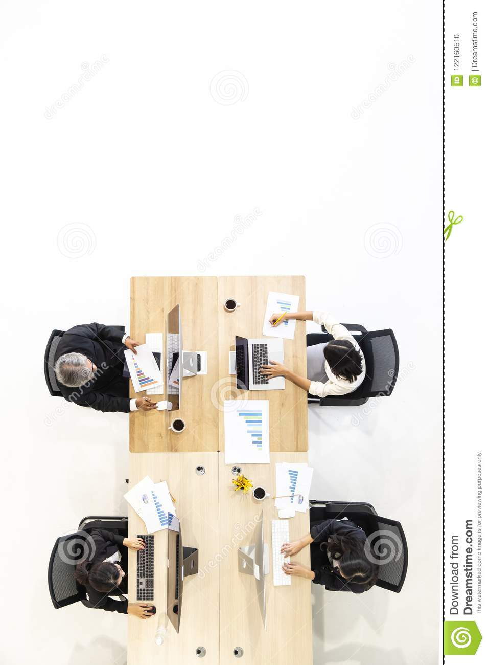 Group of business people working together in modern office,m taken from top view high angle.