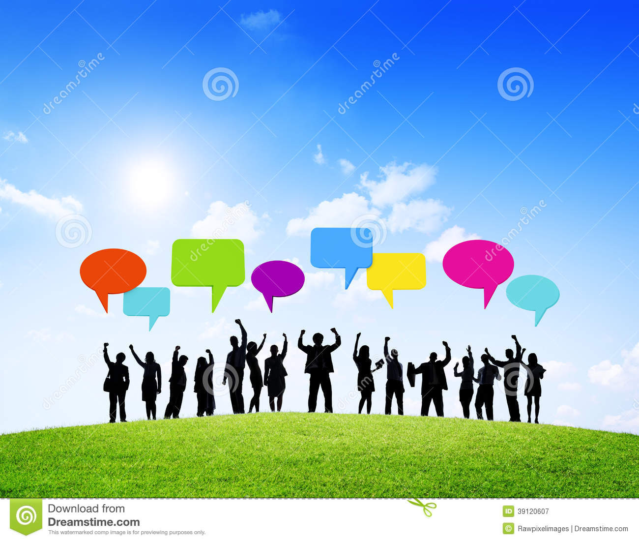 Group of Business With Speech Bubbles