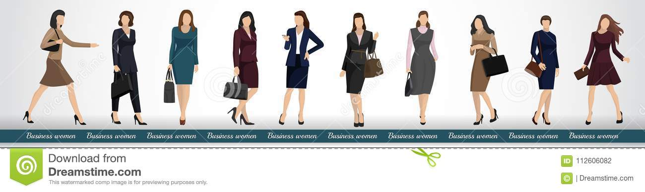 A Group Of Business Women In Elegant Business Suits Stock Vector