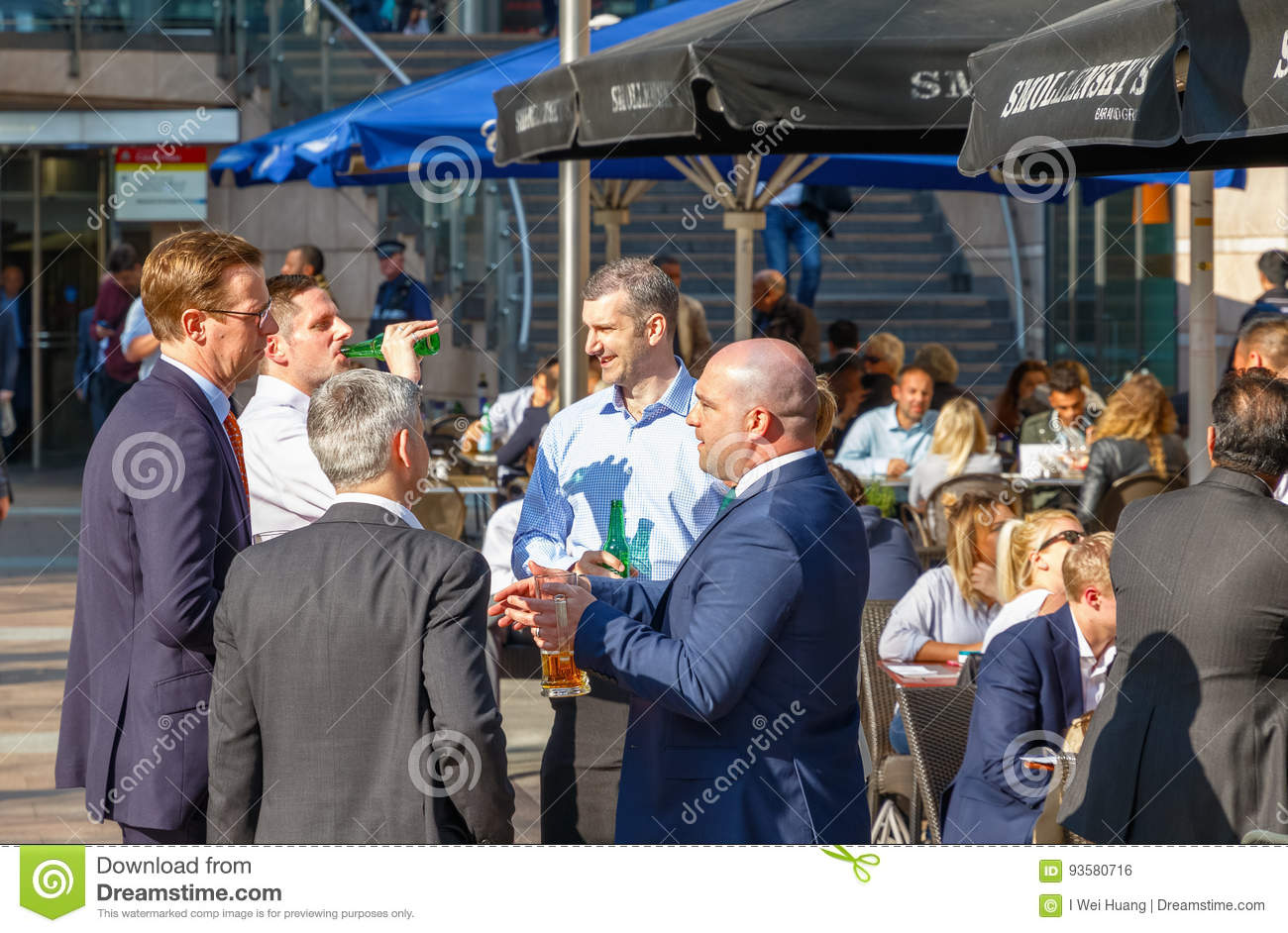 Group Of Businessmen Drinking At A Outdoor Bar In Canary ...