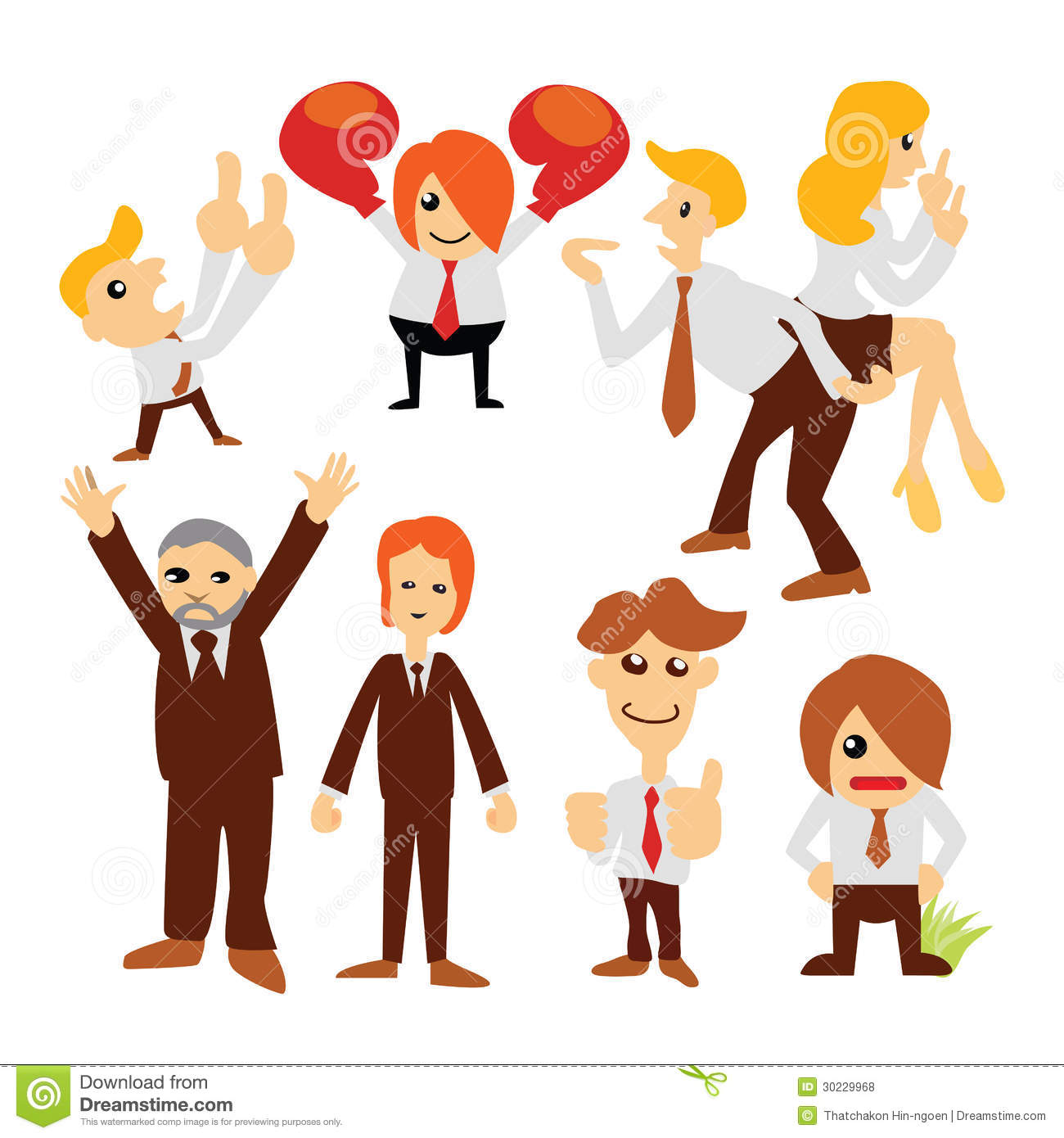 Group Of 6 Cartoon Characters : Group cartoon business people stock vector image