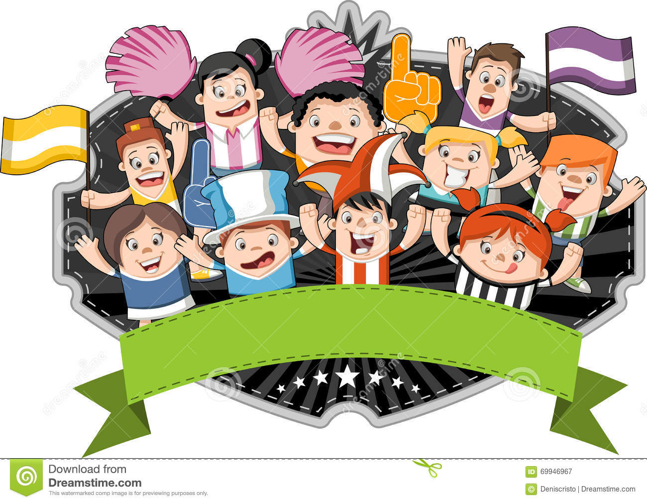 Group Of Cartoon Sport Fans Stock Vector - Image: 69946967