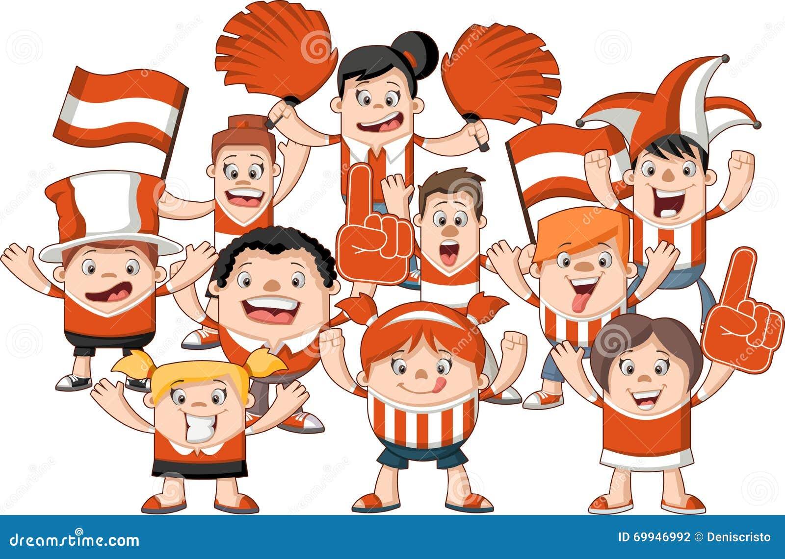 Cheering Fans Cartoon : Group of cartoon sport fans stock vector illustration