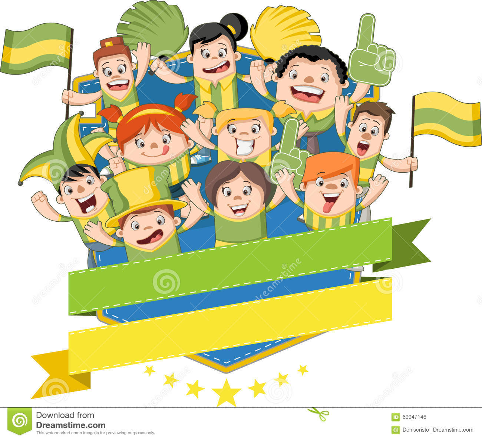 Cheering Fans Cartoon : Group of cartoon sport fans stock vector image