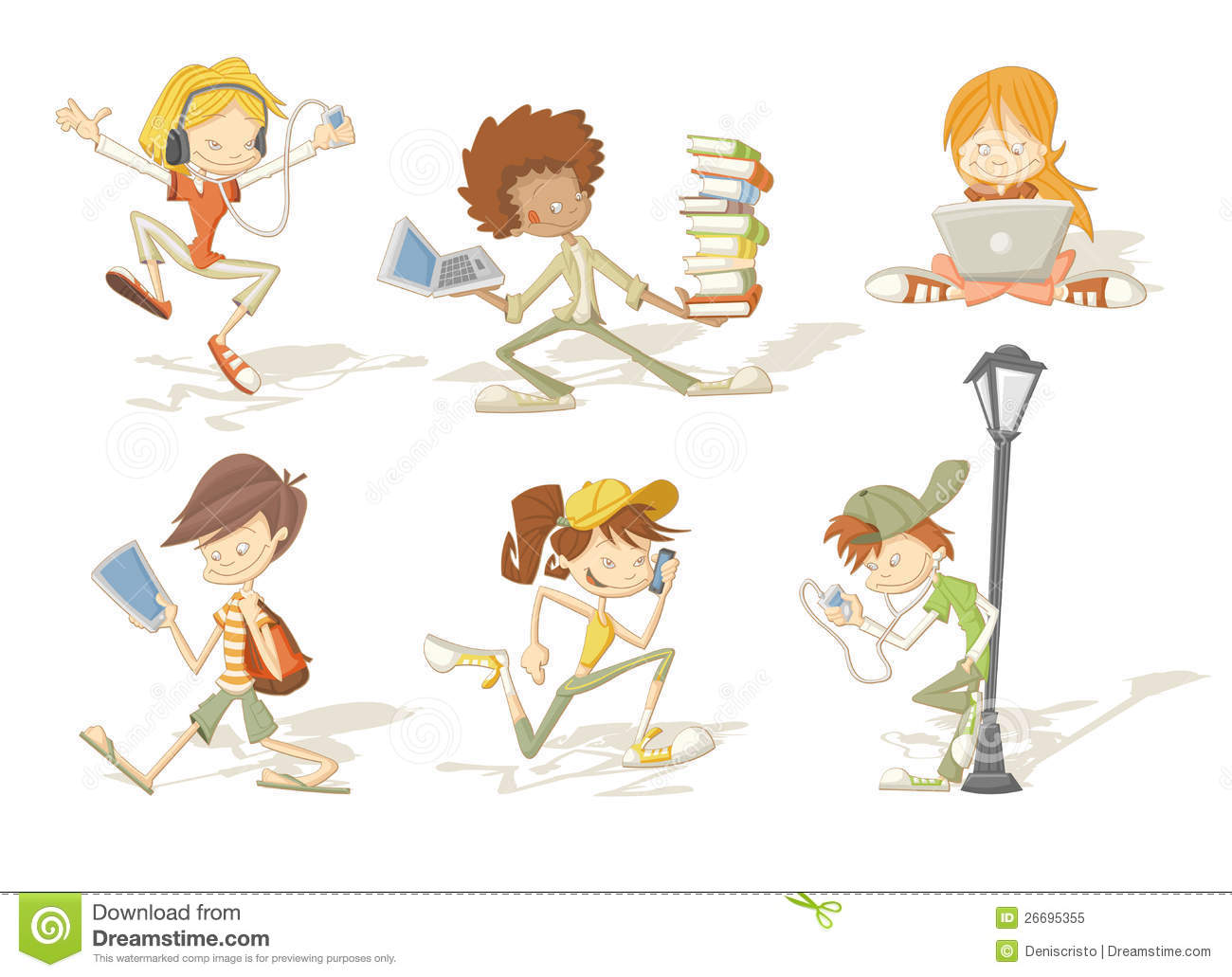 ... Cartoon Teenager Students Royalty Free Stock Photo - Image: 26695355