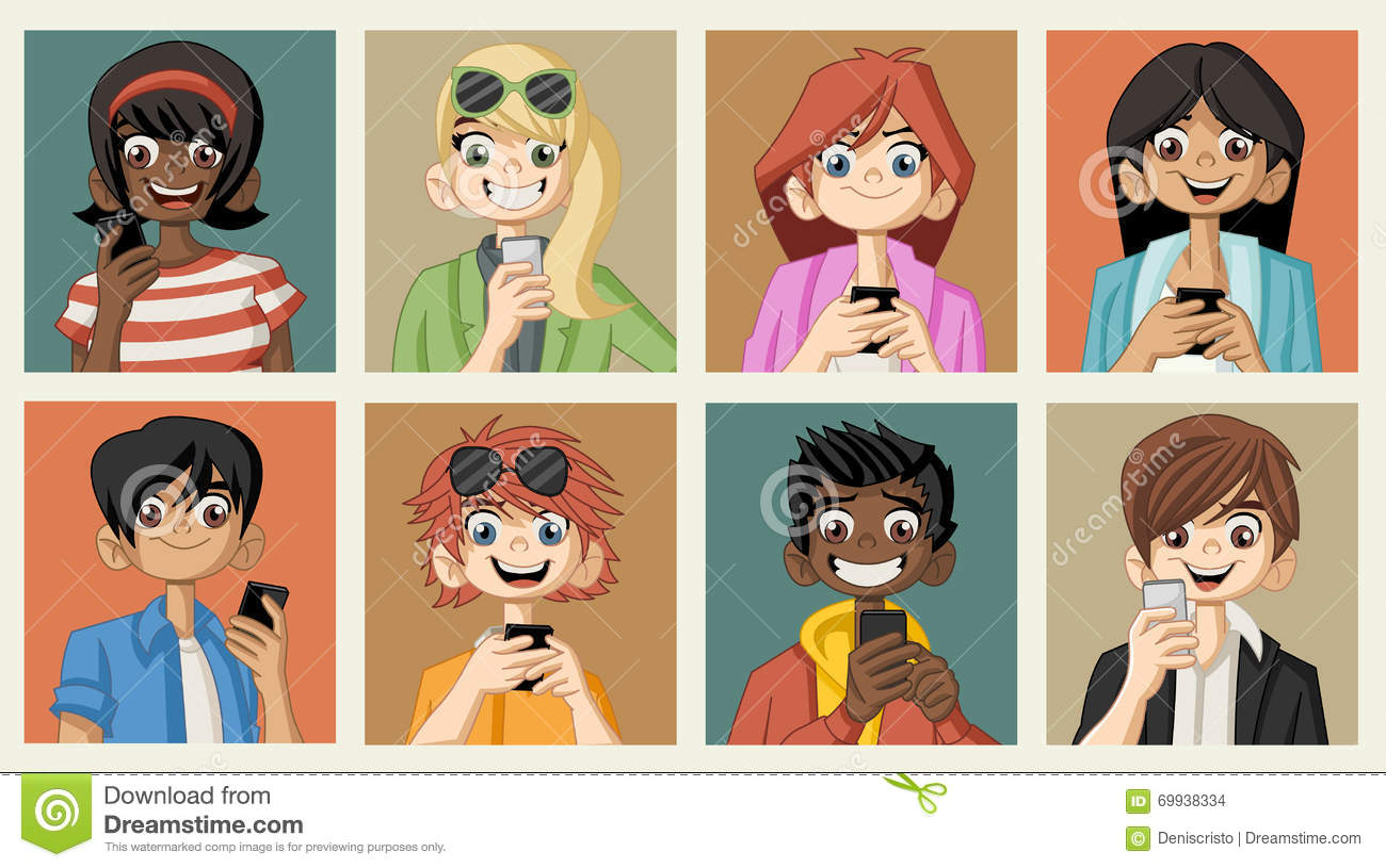 Group Of Cartoon Young People With Smart Phones Stock ...
