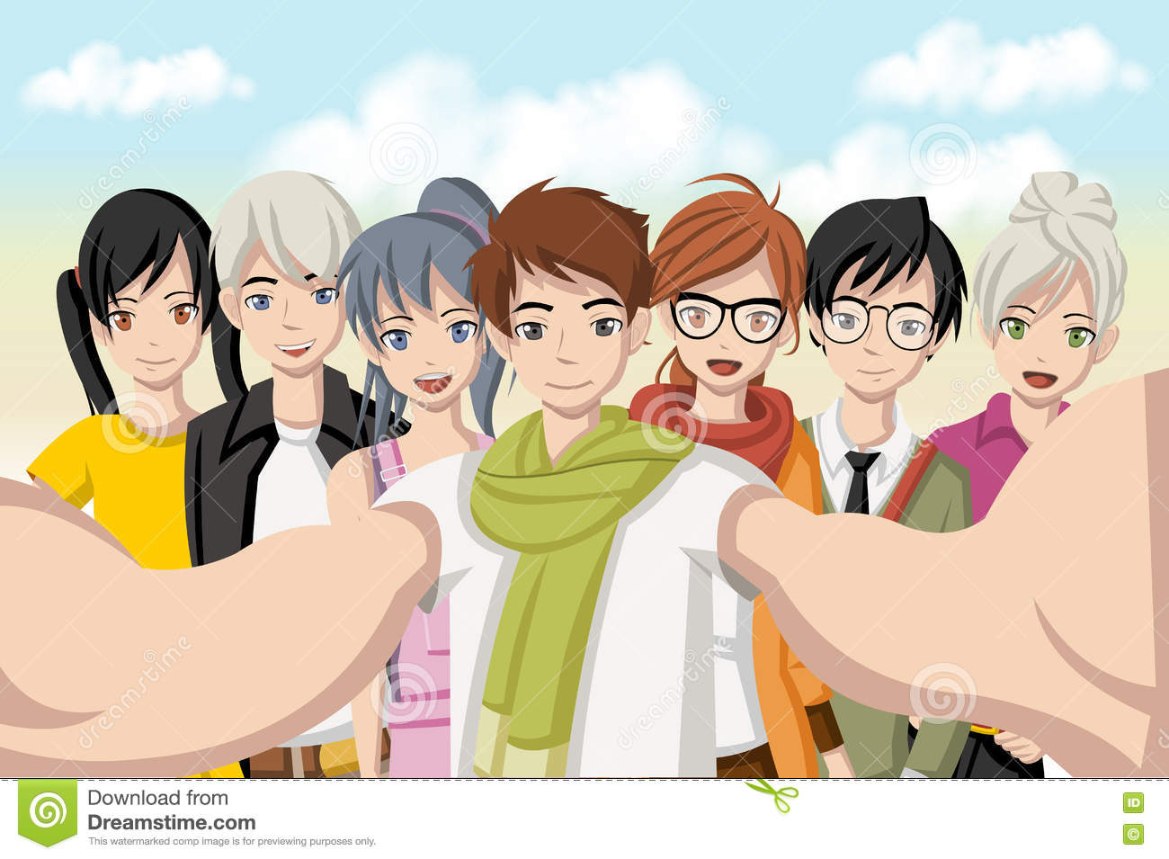 Group of cartoon young people taking telfie photo picture of manga anime teenagers n