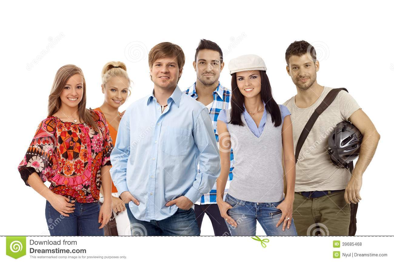 Group of casual young people