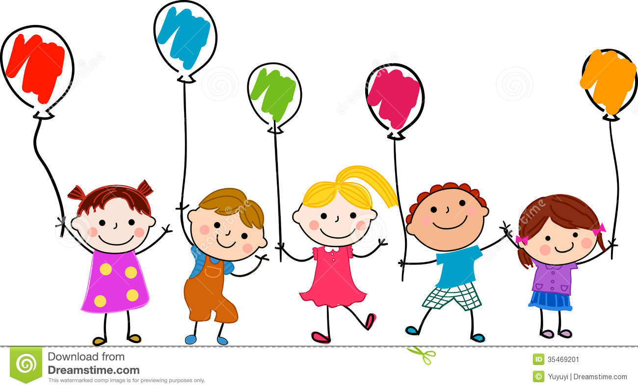 group of children and balloon - Cartoon Children Pictures
