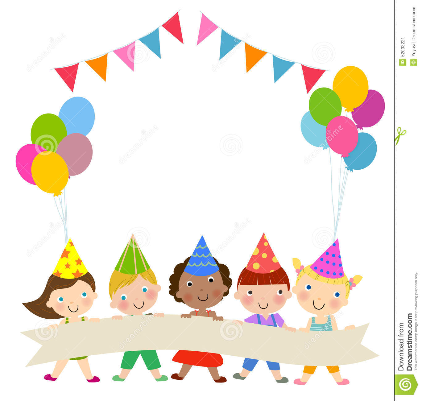 Group of children and birthday party stock vector image 52033221 - Deco anniversaire enfant ...