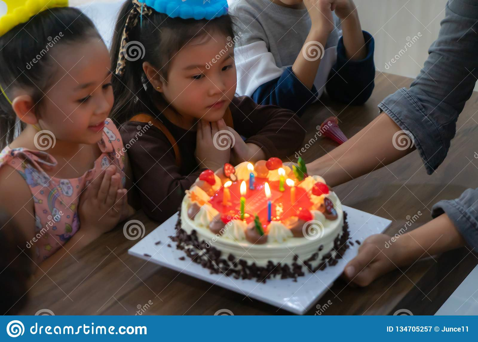 Fine Group Of Children Blowing Birthday Cake In Birthday Party Singing Personalised Birthday Cards Paralily Jamesorg