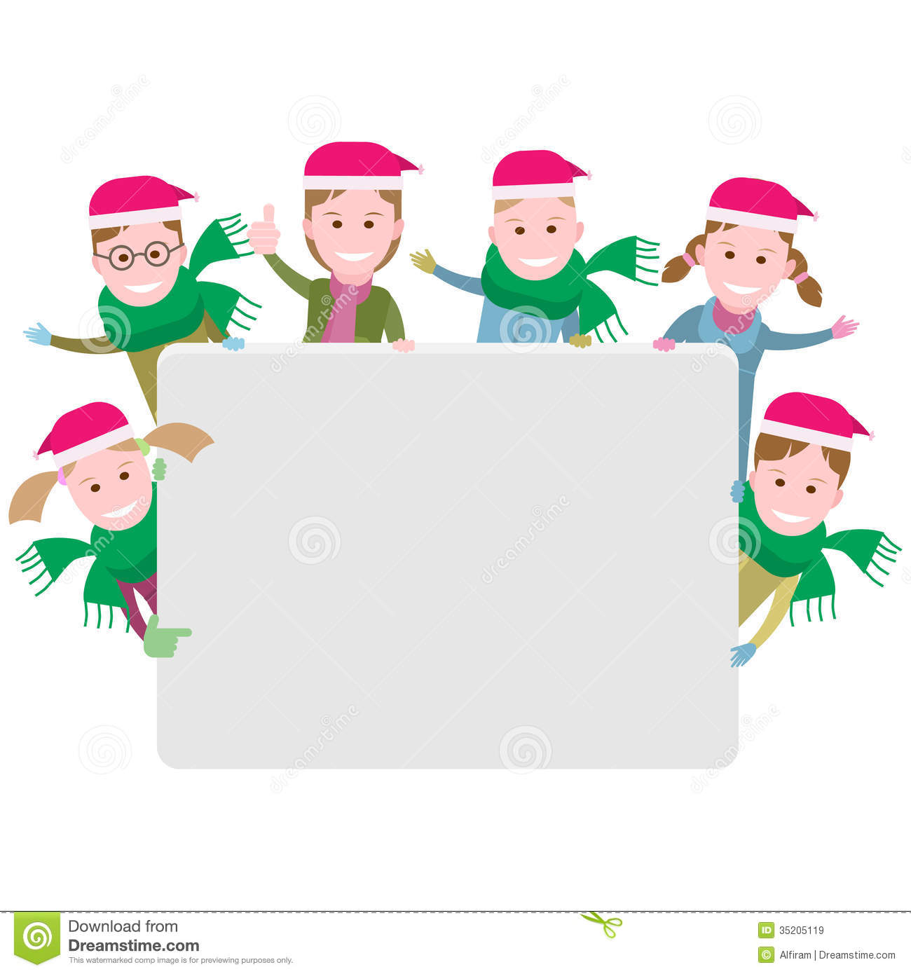 Group Of Children With A Christmas Banner Stock Vector ...