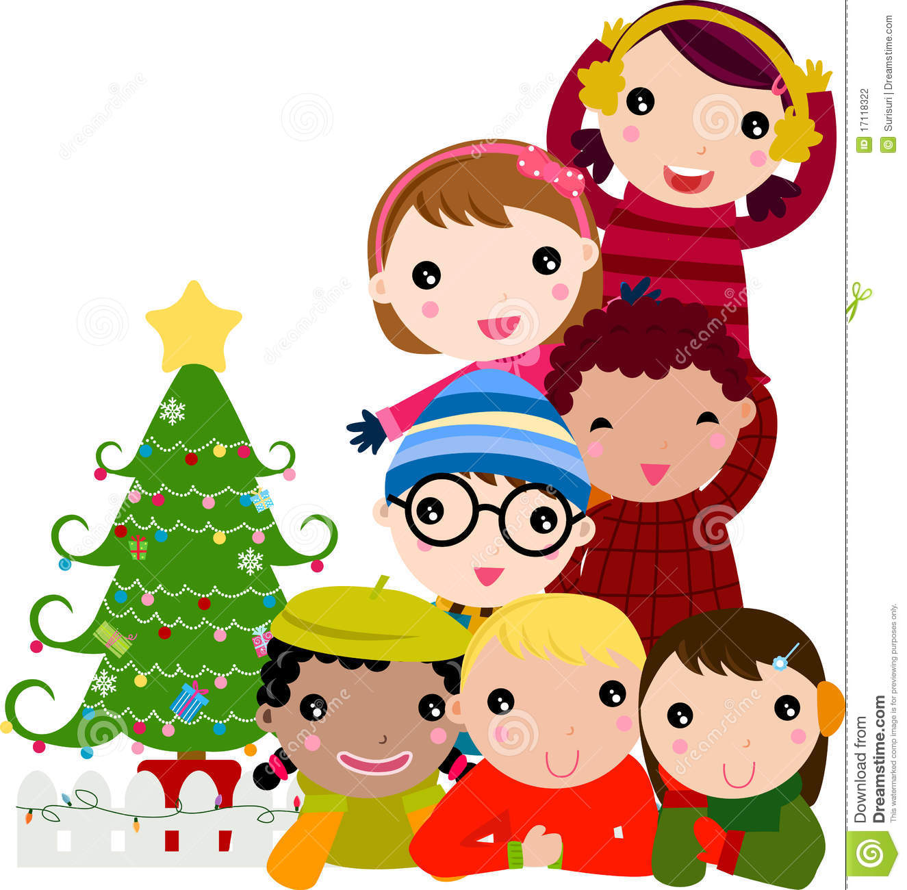 Group Of Children And Christmas Tree Stock Photography - Image ...