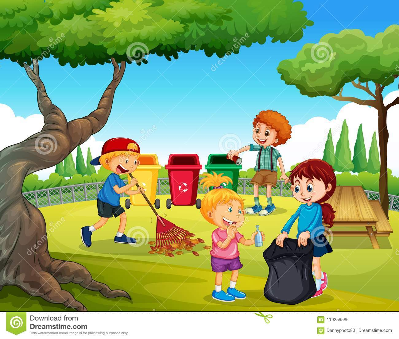 A Group Of Children Cleaning Garden Stock Vector Illustration Of