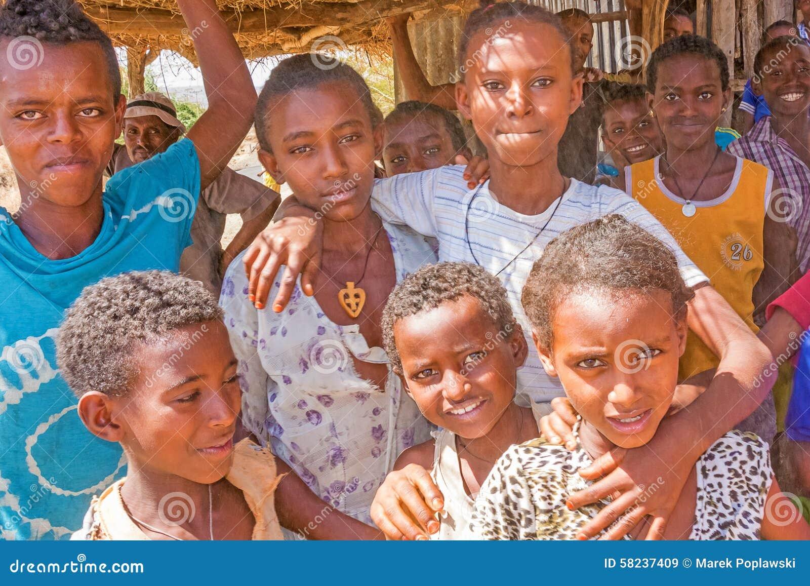 Group of children in ethiopia editorial photo for Abay ethiopian cuisine