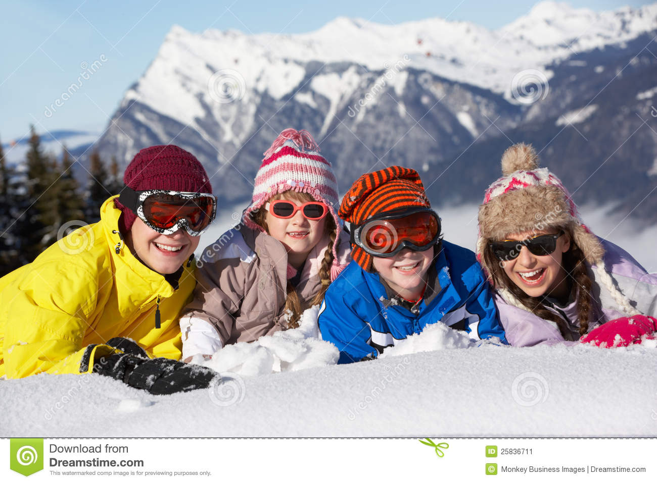 Group Of Children Having Fun In Mountains
